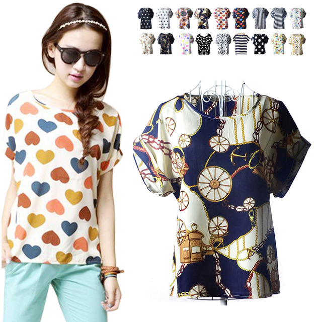 afacedccb72 2019 Explosion Hot Models Short sleeve Chiffon T Shirts Tops Loose Ladies  Striped