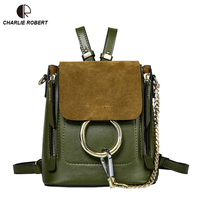2019 Spring New Arrival High Quality Genuine Cow Leather Backpack Zipper Ring Women Lady Handmade leather Solid Backpack