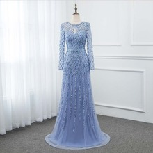 2019 Blue Long Sleeve Prom Dresses Crystals Sequins YQLNNE