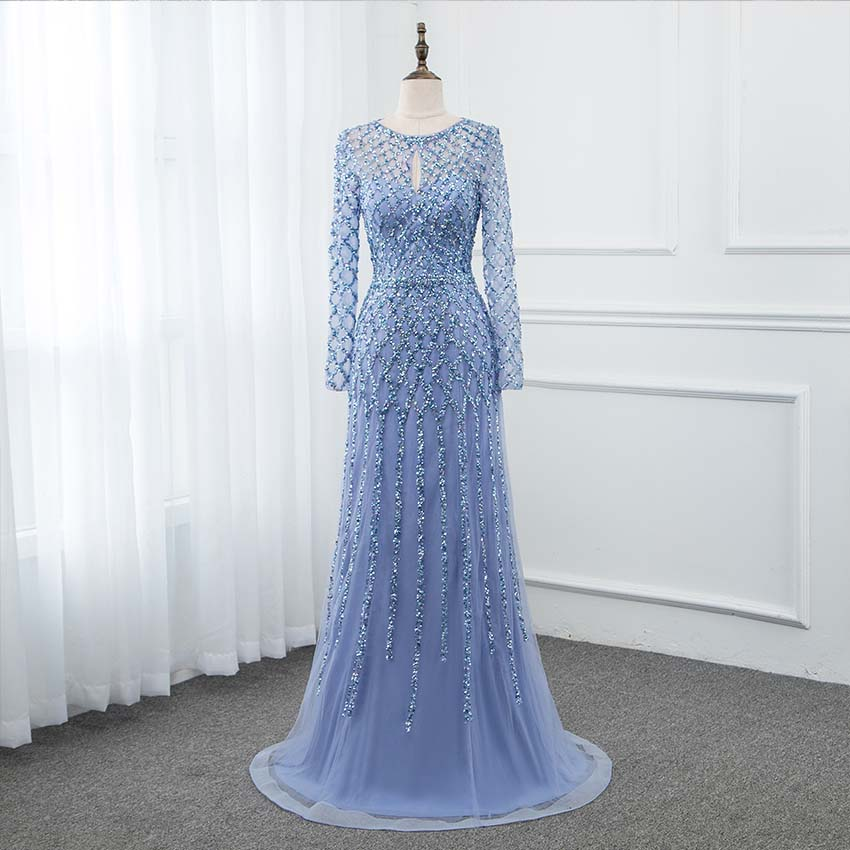 YQLNNE 2019 Blue Long Sleeve   Prom     Dresses   Crystals Sequins Formal   Dress   Zipper Back Gold Silver Available YQLNNE