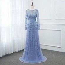 Yqlnne 2020 Blue Lange Mouwen Prom Dresses Kristallen Pailletten Formele Jurk Zipper Terug Goud Zilver Beschikbaar Yqlnne