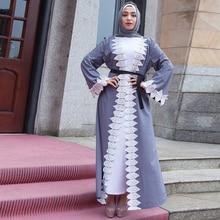 Buytiz Gray Crepe Boho Long Robe Gowns UAE  Maxi Dress Kimono Ramadan Arabic Dubai Islamic Clothing Turkish Muslim Abaya