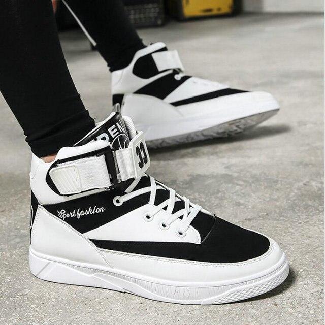 Men Flats Sneakers shoes Black white  Men Boots Hip Hop Shoes Men High Top Shoes Men Casual Shoes LF-59