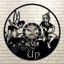 Peter Pan&Wendy Tinkerbell Neverland Vinyl LP Record Wall Clock Cartoon CD Record Hanging Clock Vintage Kid Room Decor 3D Art