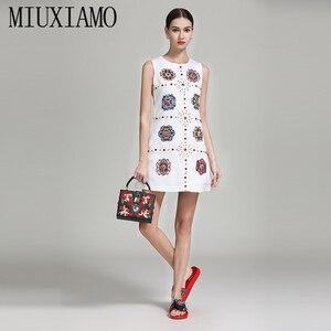 Miuximao alta qualidade 2019 primavera & verão vestido de luxo mais novo diamantes flor estéreo casual eleghant vestido feminino
