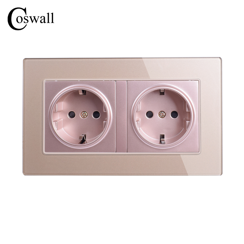 Coswall Wall Crystal Glass Panel Power Socket Grounded 16A EU Standard Electrical Golden Double Outlet 146mm * 86mm coswall 16a eu standard wall double socket dimmer regulator light switch stainless steel panel 236 86mm