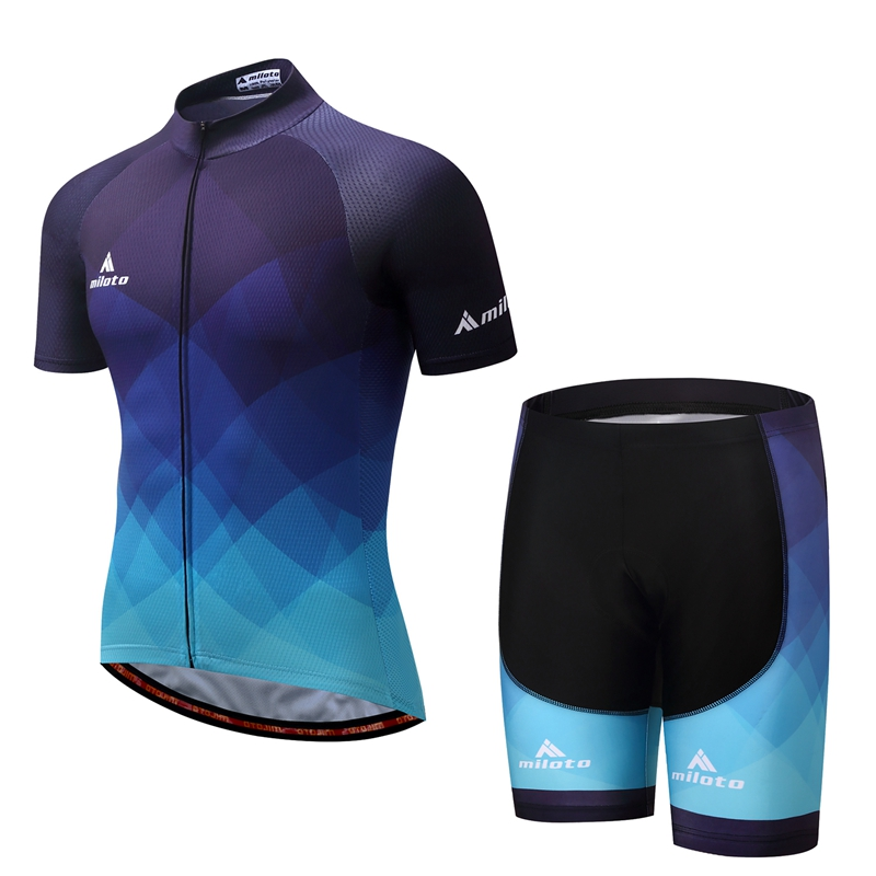 Blue Cycling Jersey Bib Shorts Set Ropa Ciclismo Outdoor Bicycle Clothing Short Sleeve Bike Wear Sportswear Clothing S-4XL