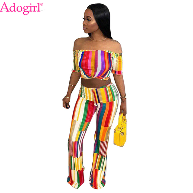 1b77199320 Adogirl Colorful Striped Sexy 2 Piece Set for Women Off the Shoulder Short Sleeve  Crop Top Fashion Flare Pants Casual Suits