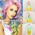 2016 New Hot Sexy Pink/Blue/Green/Yellow Four Tone Color Synthetic Lace Front Wig Heat Resistant Long Wave Ombre Wig Hair