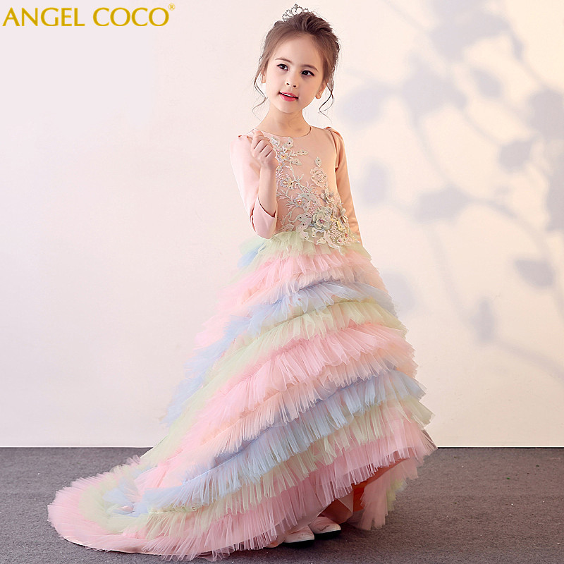ChildrenS Evening Dress Rainbow Long-Tailed Puff Princess Dress Girl Catwalk Piano Performance Costumes Teenager Carnaval Gown ChildrenS Evening Dress Rainbow Long-Tailed Puff Princess Dress Girl Catwalk Piano Performance Costumes Teenager Carnaval Gown