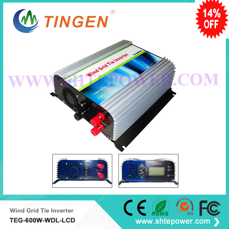 Wind mini inverter grid tie 600w dc input 10.8-30v to ac output 90-130v/190-260v with lcd display home use 300w solar grid on tie inverter dc 10 8 30v input to two voltage ac output 90 130v 190 260v choice
