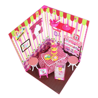 1:6 DIY Dollhouse Assembly Kit with Furniture Pink Dessert Shop Christmas Birthday Gift