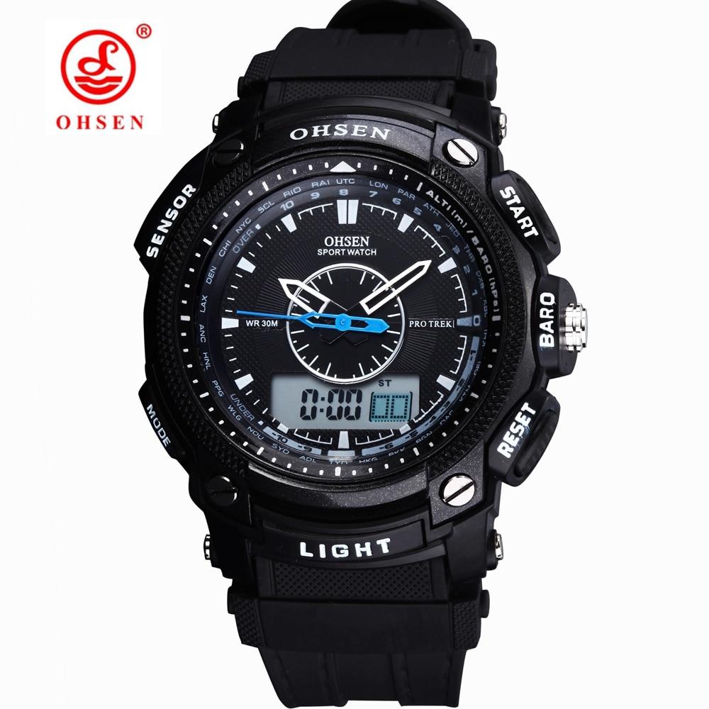 Exército Militar OHSEN LCD Dual Core Mens Sport Watch Alarm Data Dia Cronômetro Back Light Branco da faixa de borracha Relógio de pulso Relógios de Mergulho