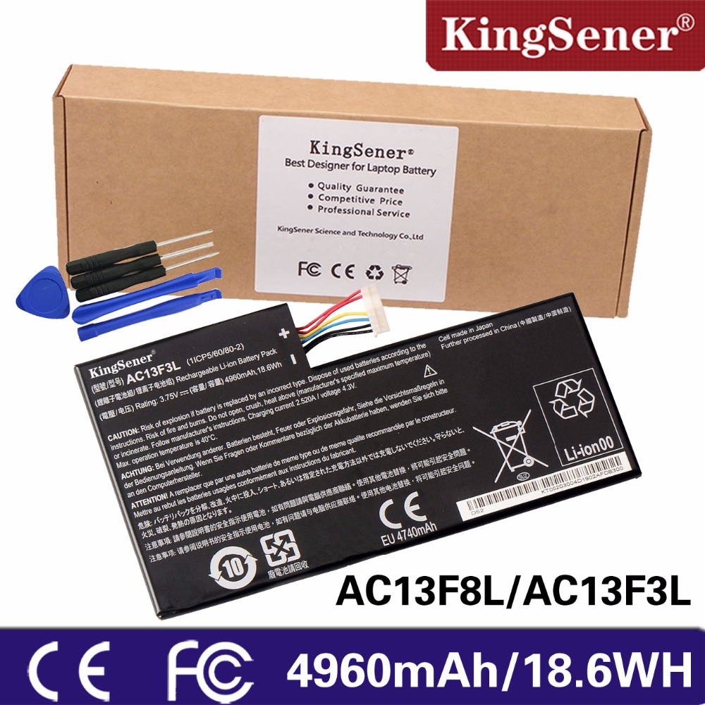 KingSener New Tablet Battery For ACER iconia Tab A1-810 W4-820 AC13F8L W4-820P A1-A810 1CP5/60/80-2 AC13F3L new 12v 1 5a for acer iconia tab a510 a511 a700 a701 tablet charger ac dc adapter acer cable charging free shipping