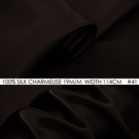100% SILK CHARMEUSE SATIN 114cm width 19mommes Pure Mulberry Silk Fabric/China Wedding Dress Fabric Suppliers Dark Brown NO 41