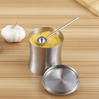 304 roestvrij staal metalen saus pot sucrier keuken staal kruiden opslag fles met deksel