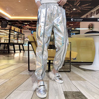 Womens Loose Sequine Shiny Pants Nightclub Dance Hip hop Trousers Silver Large Size 3XL