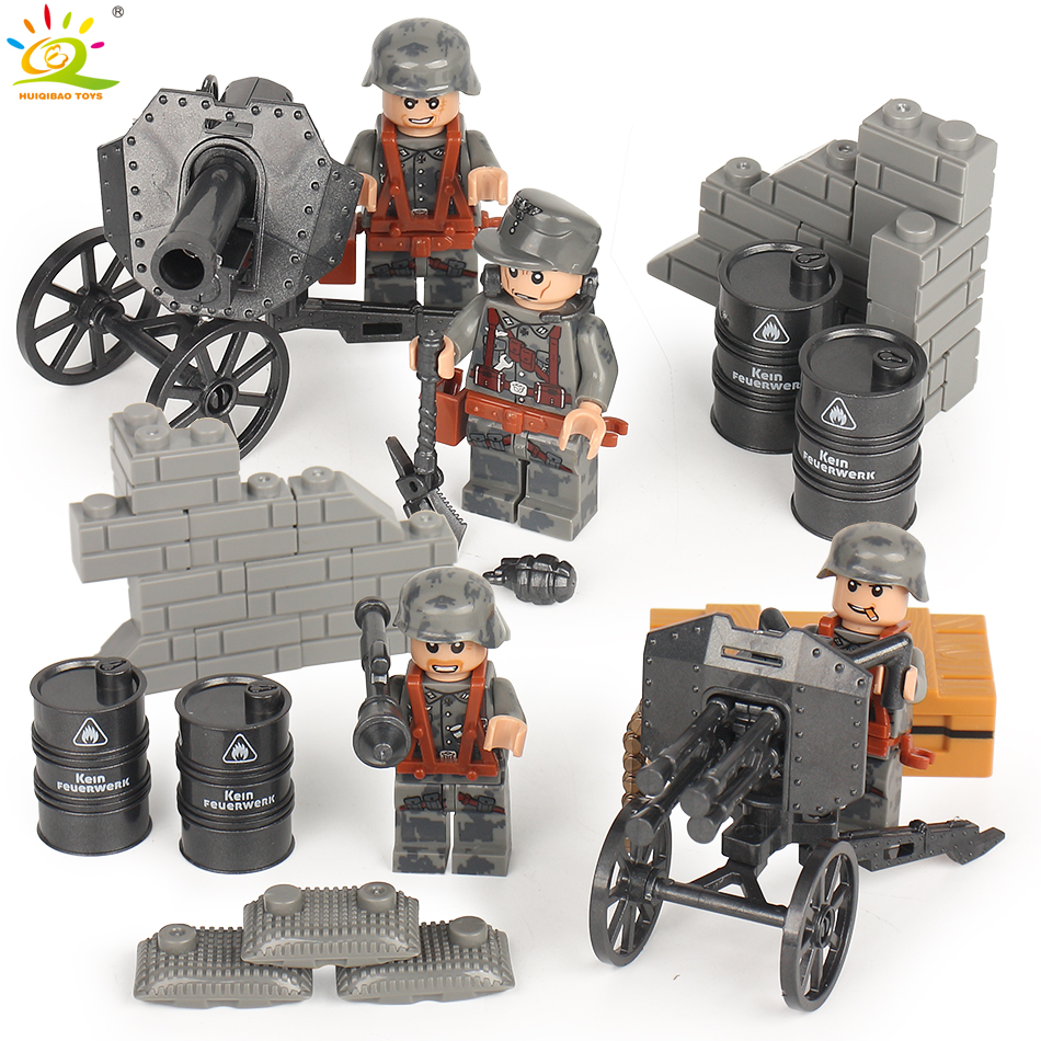 6pcs German Military SWAT Police Weapon Compatible Legoed city Army Soldiers figures WW2 Building Blocks bricks Toy for children