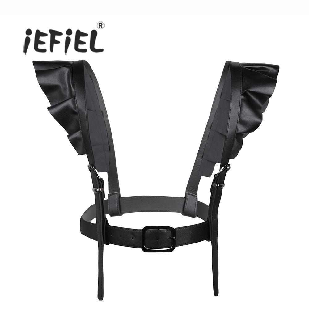iEFiEL Fashion Style Women PU Leather Punk Straps Adjustable Belts-Body Harness Belt Body Chain Suspenders with Shoulder Straps