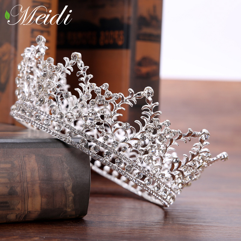 MEIDI New Silver Gold Color Crystal Pearl Tiara Crown Wedding Hair Accessories Bridal Party Jewelry Wedding Tiaras Hairpins