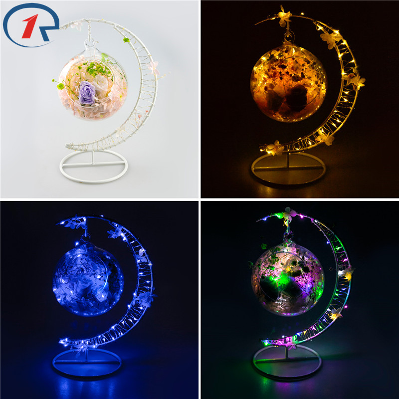 ZjRight mini Led bulb string Lights moon Iron frame dry flower petal sachet Battery glass ball decor Help sleep table night lamp