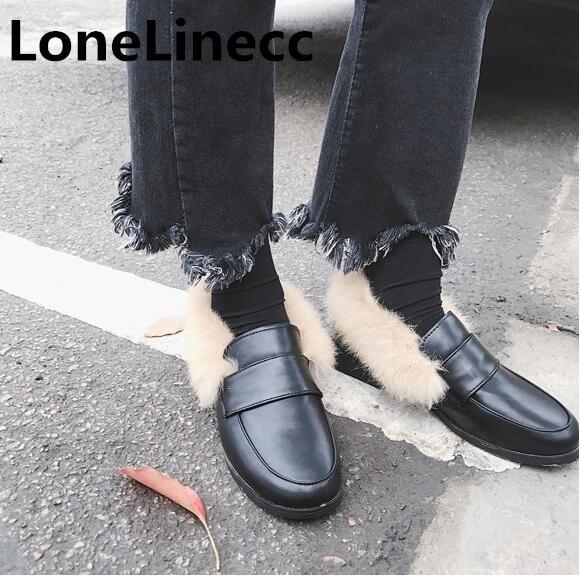 Mujeres 2019 Zapatos Felpa Mujer Negro marrón Mulas Piel Botas Invierno Plataforma De Mocasines Plana Otoño Cuero EqqHTrB