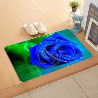 W530L8 Custom mooie blue Rose Bloem Aquarel Deurmat Thuis Decor Deur mat Vloermat Bad Matten voet pad # F8