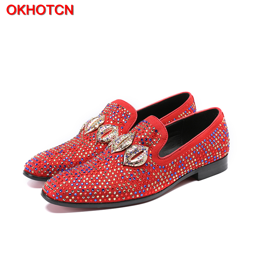 OKHOTCN Red Black Men Leather Casual Shoes Colorful Crystal Cozy Loafers Bling Rhinestore New Spring Mens Dress Party Flat Shoes 2017 new spring imported leather men s shoes white eather shoes breathable sneaker fashion men casual shoes