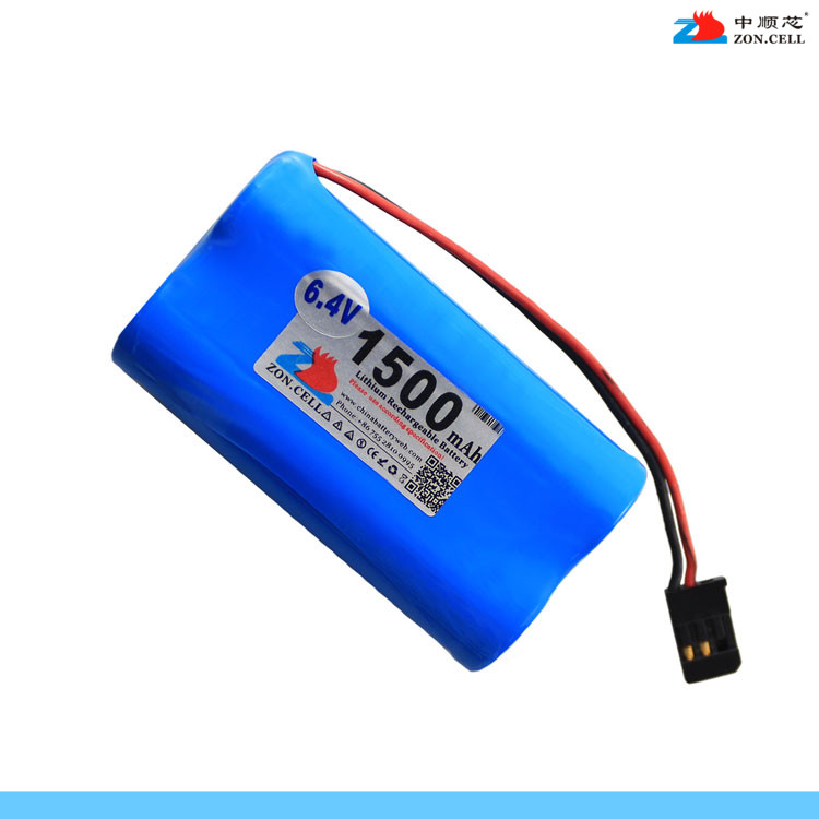 In the core 6.4V 1500mAh cylindrical lithium iron phosphate battery 18650x2 JR XG8 transmitter battery Li-ion Cell 30a 3s polymer lithium battery cell charger protection board pcb 18650 li ion lithium battery charging module 12 8 16v