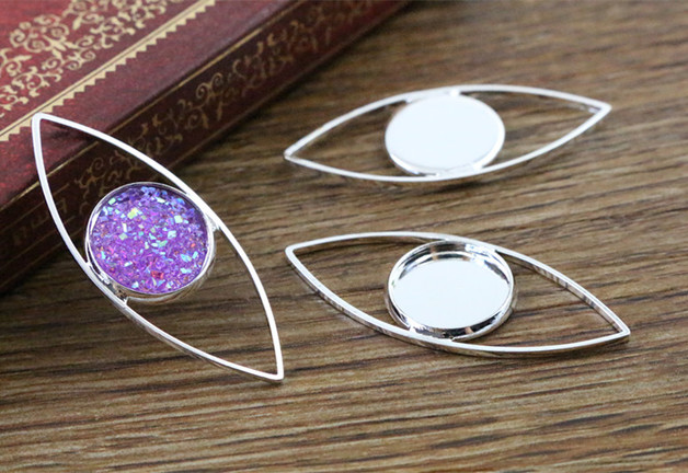 16pcs 12mm Inner Size Silver Plated Brass Material Simple Style Cabochon Base Cameo Setting Charms Pendant Tray (A1-52)