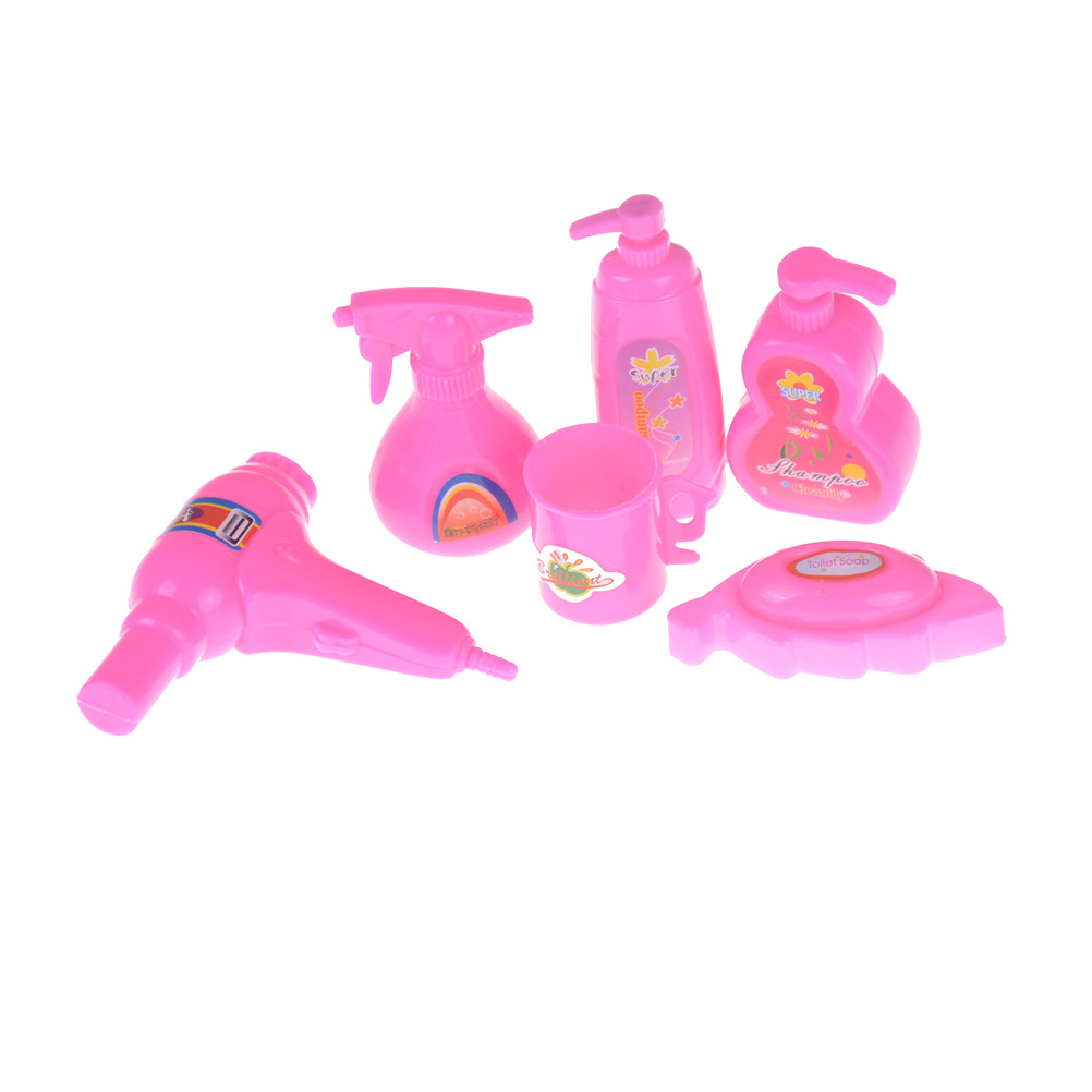 6pcs/set Doll House Hair Dryer Bath Soap Cup Dollhouse Miniature Kids Toy For Doll Furniture Bath Accessories hair dryer