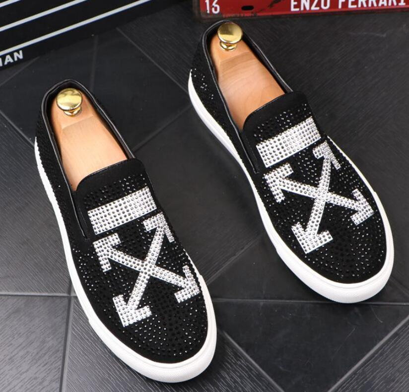 Men Glitter Shoes Mens Fashion rhinestone Casual Flats Men's Designer Dress Shoes Sequined Loafers Men's Platform Driving Shoes 25