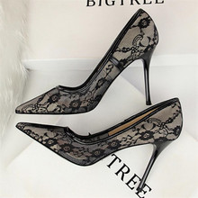 High quality sexy slim high heel womens shoes stiletto shallow mouth pointed mesh openwork lace single