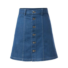 цены 2015 Blue Single-breasted Mid Waist A Line Skirts Women Summer Above Knee Vintage Denim Skirt