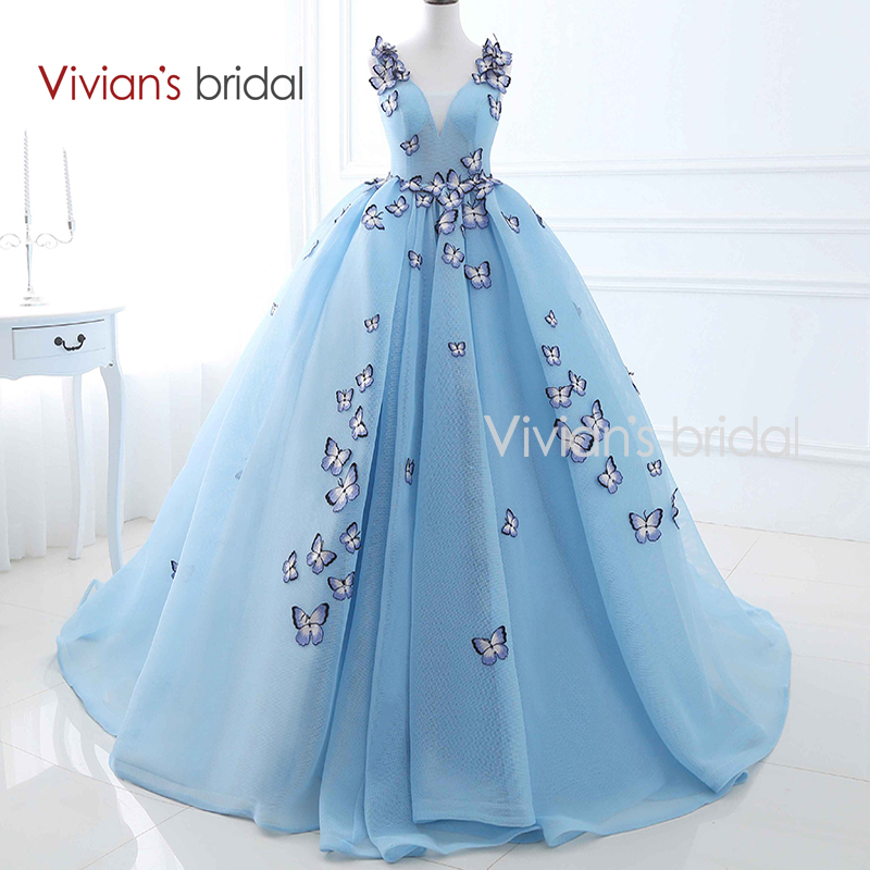 Vivian's Bridal Embroidery Butterfly Ball Gown Evening Dress Long V Neck Sleeveless Formal Evening Gown 26406
