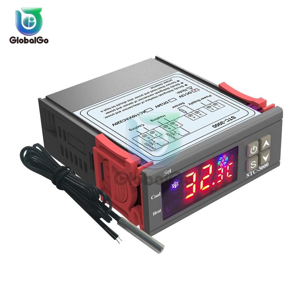 Светодиодный цифровой регулятор температуры Термостат терморегулятор Датчик температуры Реле Отопление и охлаждение STC 1000 3000 3008