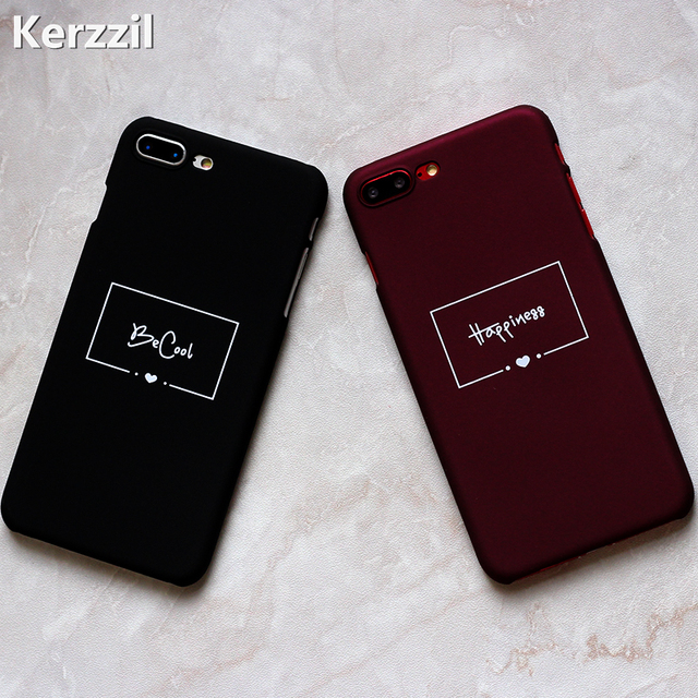 check out cb6aa 5b740 US $1.67 |Kerzzil Simple Letters Pattern Case For iphone 7 6s Case Funda  For iphone 6 7 6S Plus Half wrapped Matte Hard PC Back Cover Capa-in ...