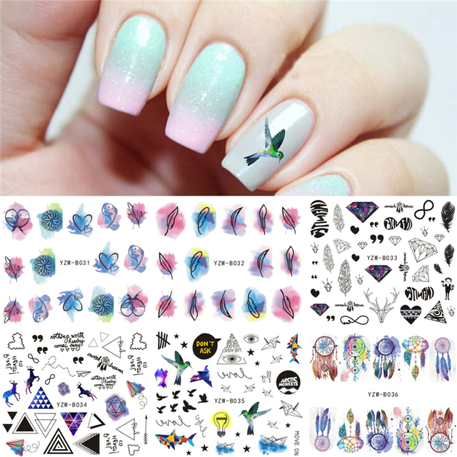 6 sheets lot feather bird diamond water decal nail art transfer sticker manicure nails design