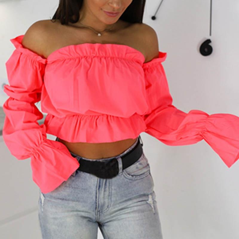2019 Candy Color Off Shoulder Crop Tops women Summer dot print lantern sleeve shirts Lady Sexy Slash neck beach blouse(China)