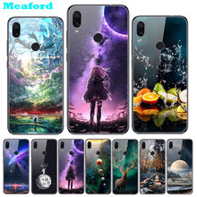For Xiaomi Redmi Note 7 Case on Tempered Glass Cover Print Hard Back for 7S Bumper Note7 Pro