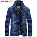 LONMMY M-4XL 2016 Mens jaquetas e casacos de Algodão homens casaco jaqueta jeans estilo Militar Do Exército Multi-bolso Denim homens casaco Novo
