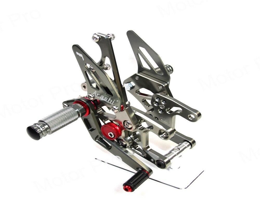 Регулируемый подножки для Honda CBR1000RR 2008 2009 2010 2011 CBR 1000 RR ЧПУ ног колышек Rearset сзади комплект CBR1000 1000RR серый