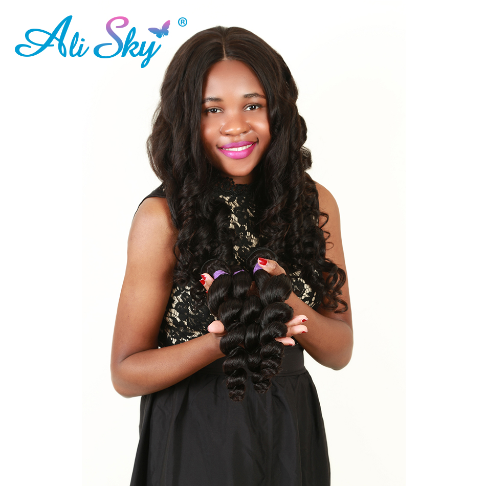 Ali Sky Peruvian Loose Wave 4 Bundles With lace Frontal NonRemy Human Hair Weave Extension Pre Plucked Lace Frontal With Bundles