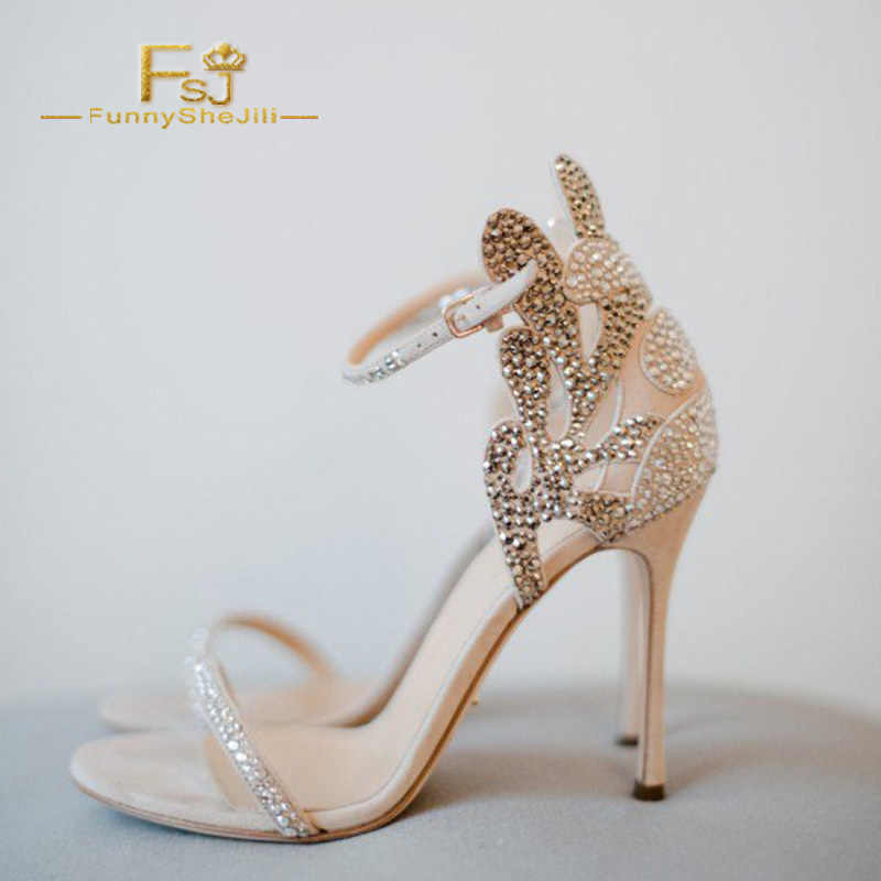 df4939898a6 ... Champagne Wedding Shoes Rhinestone Stiletto Heels Bridal Sandals Woman  Shoes Summer 2018 Crystal Party Ankle Strap ...