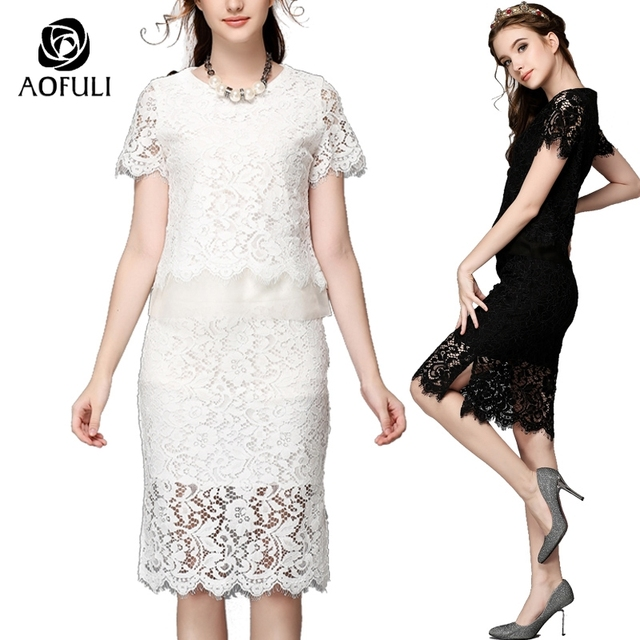 08568bbe2f9 S/M/5XL Plus Size Women Sexy Hollow Lace Skirt Suits Short Sleeve Tops +  Knee Length Skirt Sets Two Piece Suit Lace Twinset F761