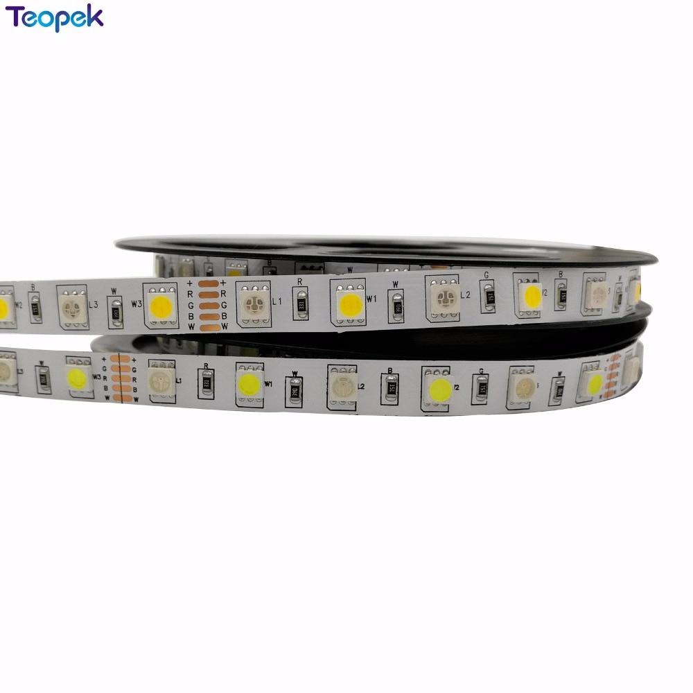 5M 5050 60led / M RGBW RGBWW RGB + Varm hvit eller kul hvit LED Strip Light DC12V Ikke-vanntett Gratis frakt