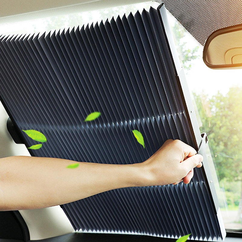 Car Retractable windshield Sun Shade Block sunshade cover Front Rear window foil Curtain for Solar UV protect 46/65/70cm-in Windshield Sunshades from Automobiles & Motorcycles