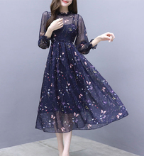 Spring and summer new style Korean Butterfly Print Chiffon Dress Medium long section waist slimming dress