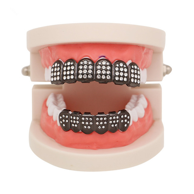 US $4 58 |Mainlead Hip Hop Teeth Grillz Top&Bottom Iced Out CZ Grills  Dental Rose Gold Vampire Caps Mouth Jewelry Party-in Body Jewelry from  Jewelry &