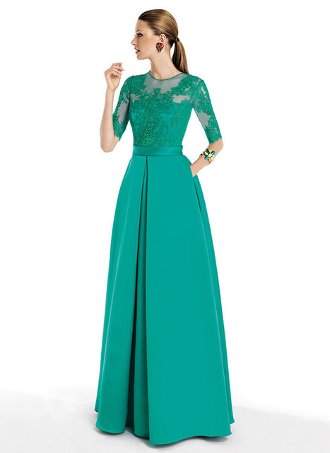 Aliexpress.com : Buy Free shipping Green Color Lace Middle Sleeves ...